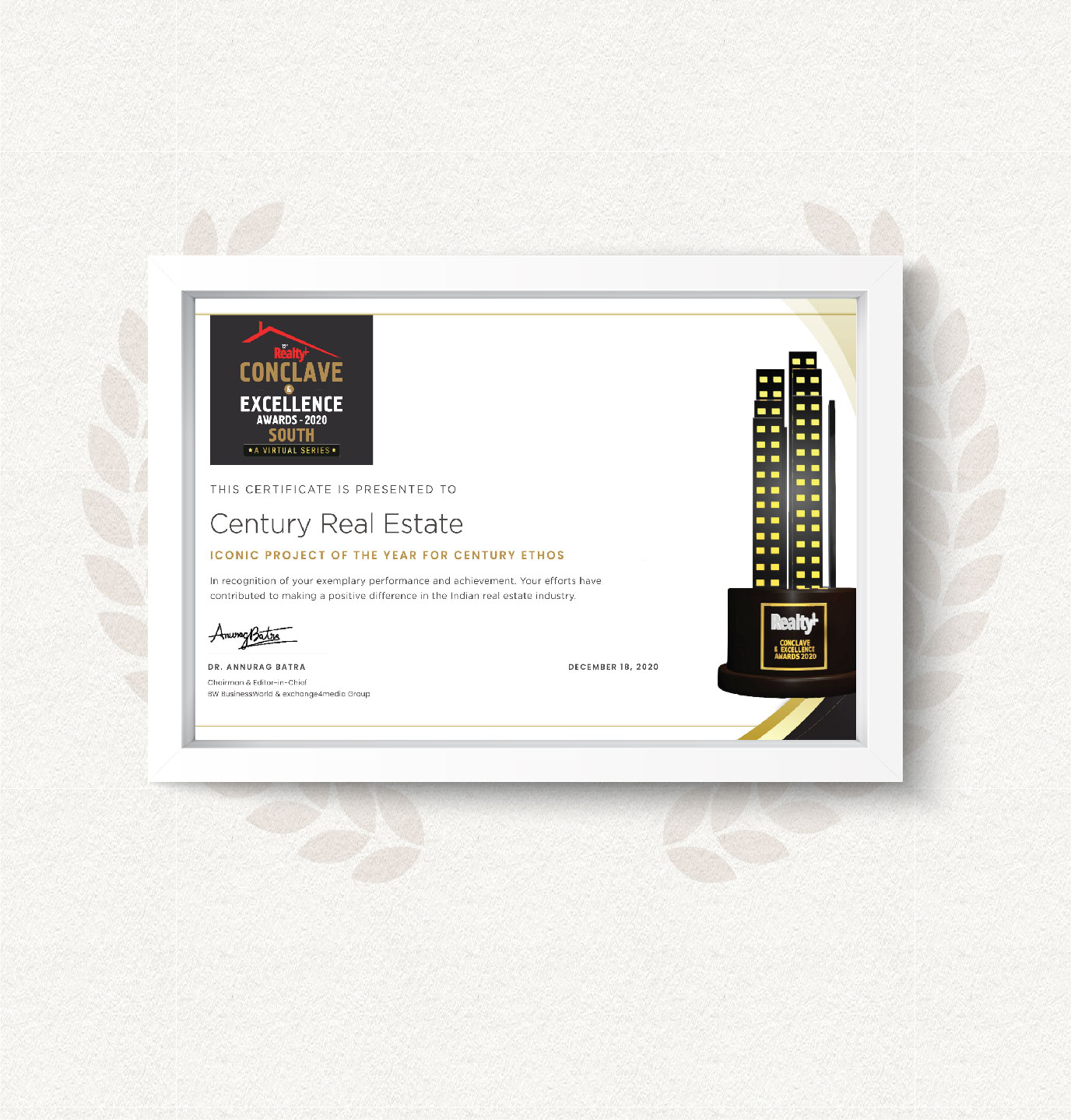 CENTURY ETHOS WINS ICONIC PROJECT OF THE YEAR - 2020